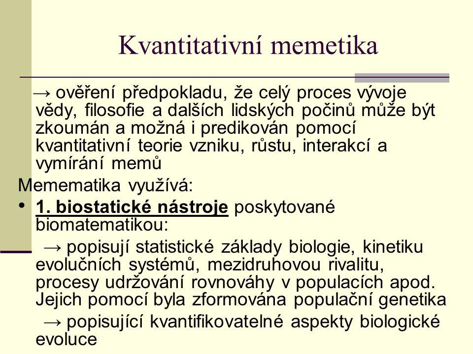 Kvantitativní memetika → ověření předpokladu, že celý proces vývoje vědy, filosofie a dalších lidských počinů může být zkoumán a možná i predikován pomocí kvantitativní teorie vzniku, růstu, interakcí a vymírání memů Memematika využívá: 1.