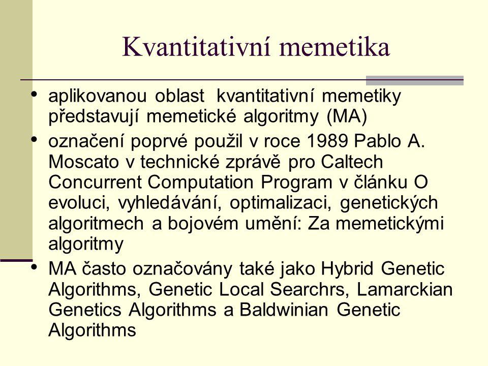 Kvantitativní memetika aplikovanou oblast kvantitativní memetiky představují memetické algoritmy (MA) označení poprvé použil v roce 1989 Pablo A.