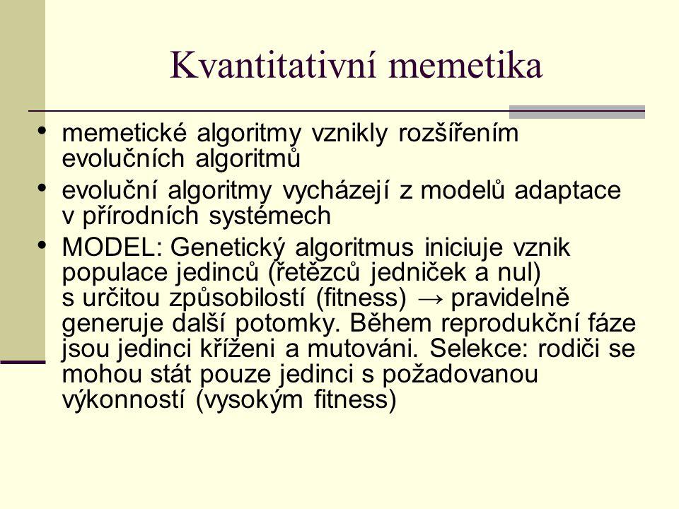 Kvantitativní memetika memetické algoritmy vznikly rozšířením evolučních algoritmů evoluční algoritmy vycházejí z modelů adaptace v přírodních systémech MODEL: Genetický algoritmus iniciuje vznik populace jedinců (řetězců jedniček a nul) s určitou způsobilostí (fitness) → pravidelně generuje další potomky.