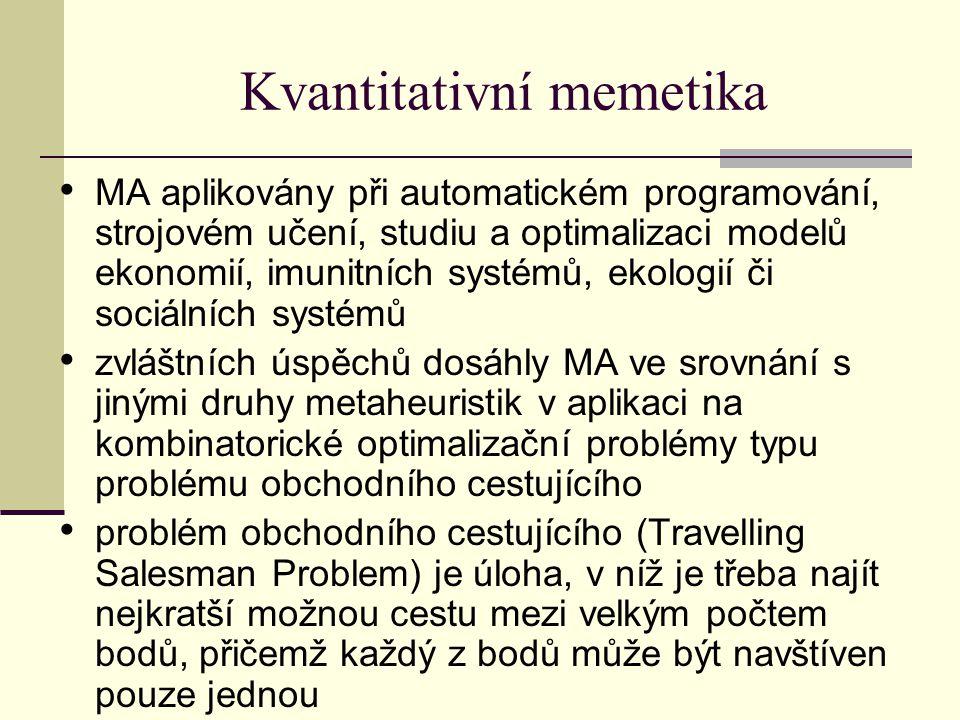 Kvantitativní memetika MA aplikovány při automatickém programování, strojovém učení, studiu a optimalizaci modelů ekonomií, imunitních systémů, ekologií či sociálních systémů zvláštních úspěchů dosáhly MA ve srovnání s jinými druhy metaheuristik v aplikaci na kombinatorické optimalizační problémy typu problému obchodního cestujícího problém obchodního cestujícího (Travelling Salesman Problem) je úloha, v níž je třeba najít nejkratší možnou cestu mezi velkým počtem bodů, přičemž každý z bodů může být navštíven pouze jednou