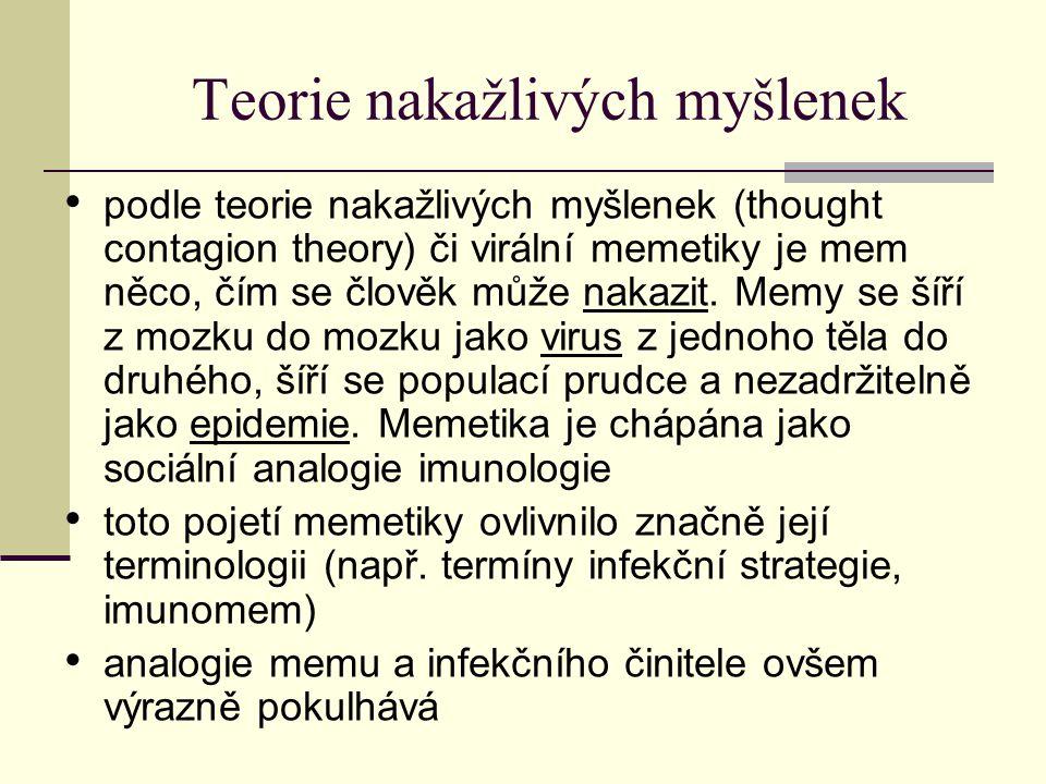 Teorie nakažlivých myšlenek podle teorie nakažlivých myšlenek (thought contagion theory) či virální memetiky je mem něco, čím se člověk může nakazit.