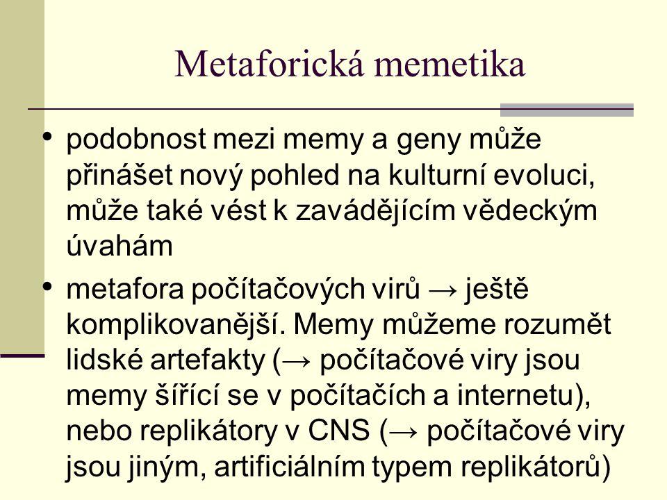 Metaforická memetika podobnost mezi memy a geny může přinášet nový pohled na kulturní evoluci, může také vést k zavádějícím vědeckým úvahám metafora počítačových virů → ještě komplikovanější.