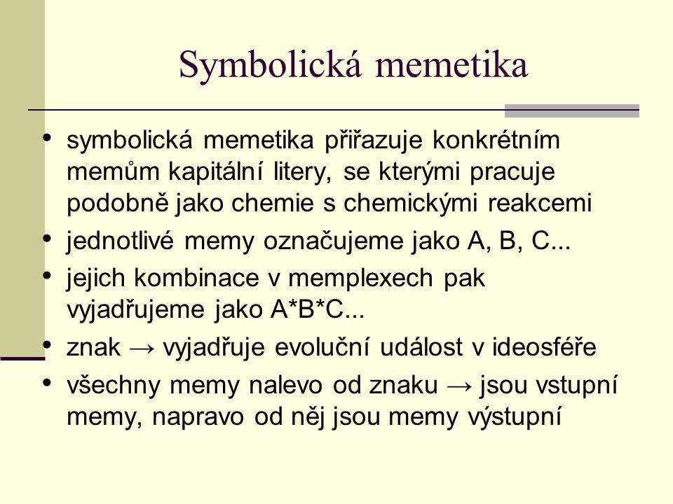Symbolická memetika symbolická memetika přiřazuje konkrétním memům kapitální litery, se kterými pracuje podobně jako chemie s chemickými reakcemi jednotlivé memy označujeme jako A, B, C...