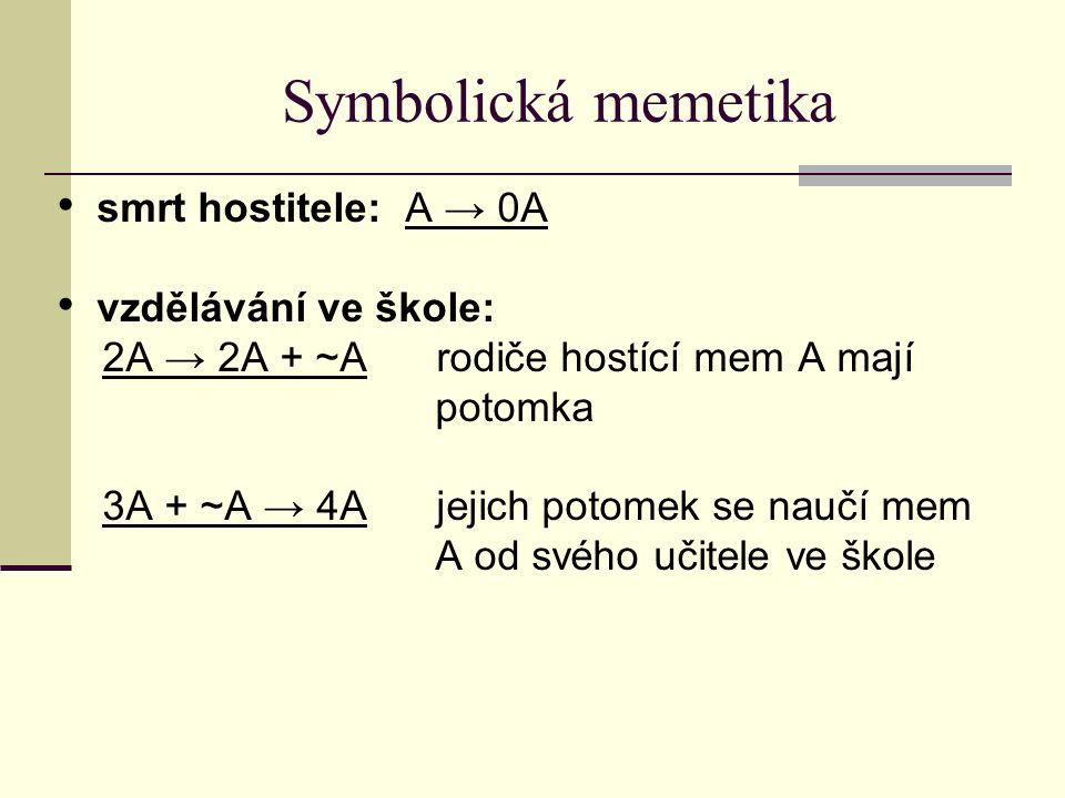 Symbolická memetika smrt hostitele: A → 0A vzdělávání ve škole: 2A → 2A + ~A rodiče hostící mem A mají potomka 3A + ~A → 4A jejich potomek se naučí mem A od svého učitele ve škole