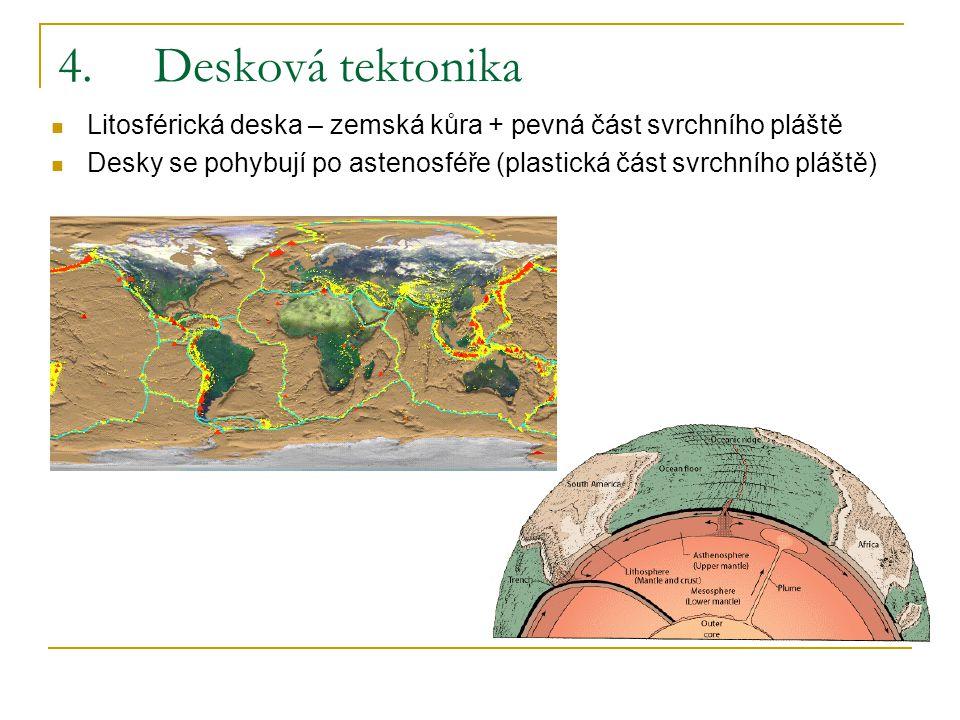 4.Desková tektonika Litosférická deska – zemská kůra + pevná část svrchního pláště Desky se pohybují po astenosféře (plastická část svrchního pláště)