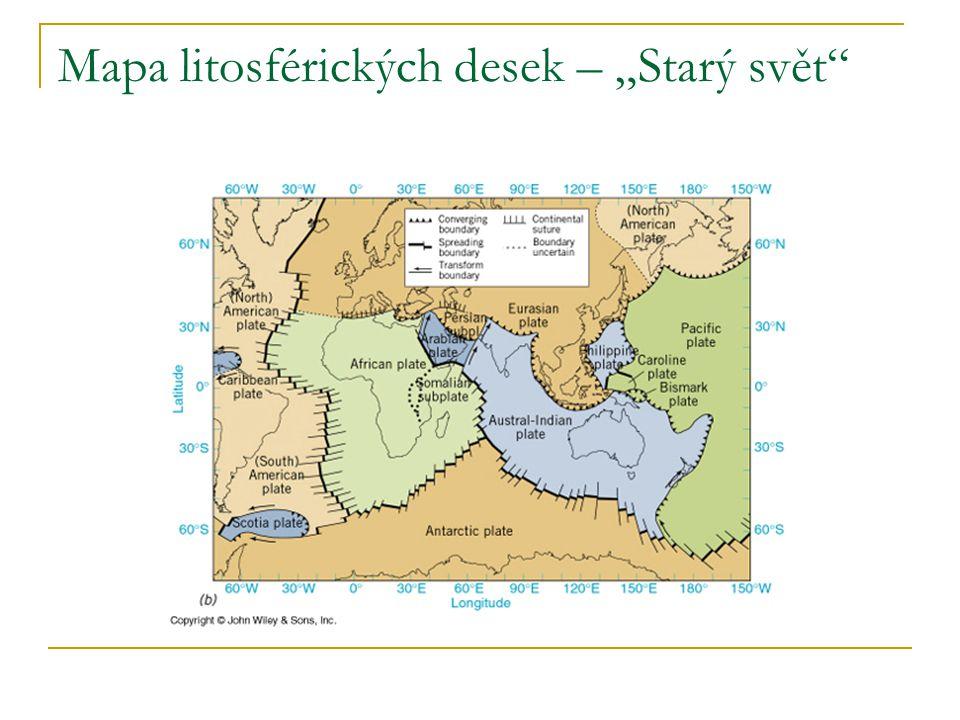 """Mapa litosférických desek – """"Starý svět"""""""