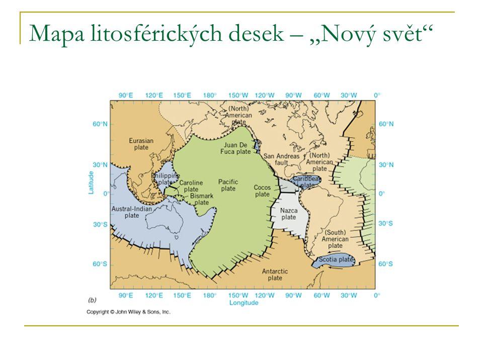 """Mapa litosférických desek – """"Nový svět"""""""