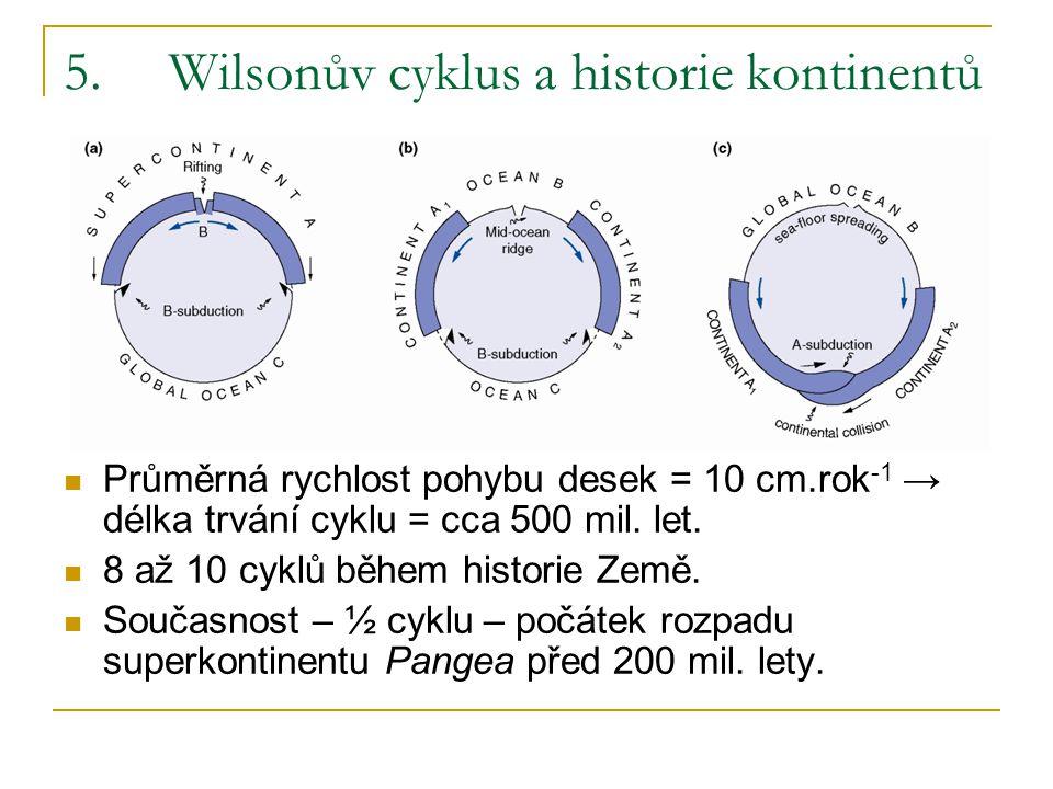 5.Wilsonův cyklus a historie kontinentů Průměrná rychlost pohybu desek = 10 cm.rok -1 → délka trvání cyklu = cca 500 mil. let. 8 až 10 cyklů během his