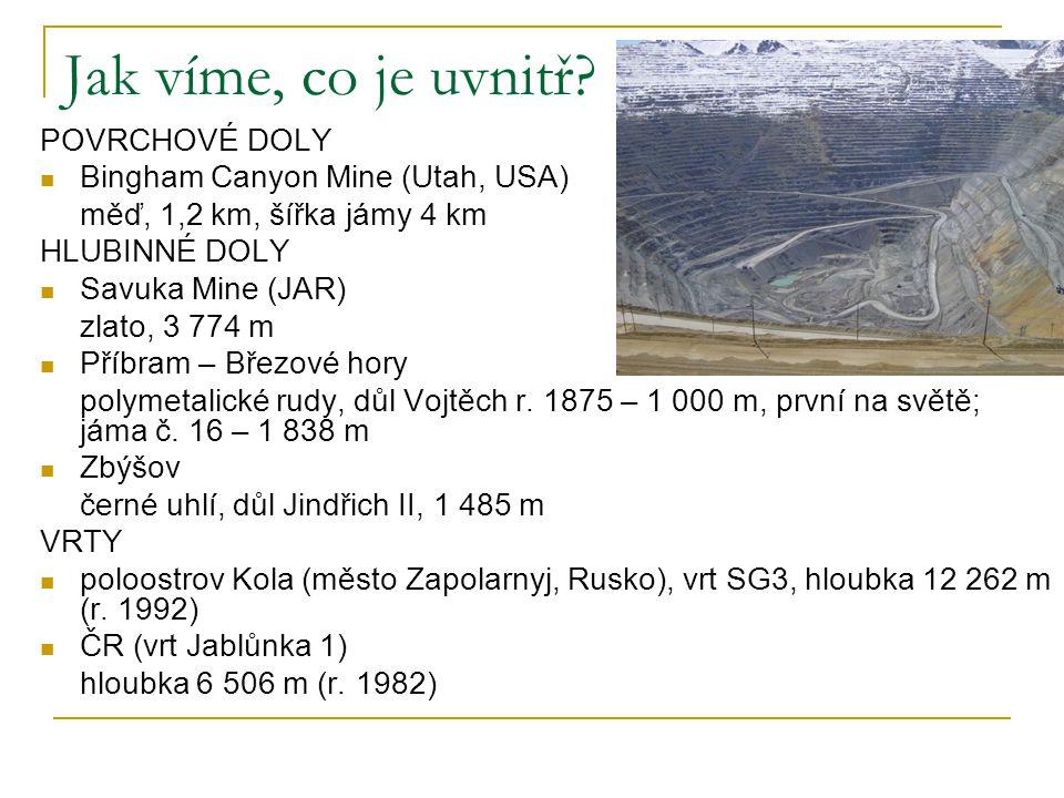 Jak víme, co je uvnitř? POVRCHOVÉ DOLY Bingham Canyon Mine (Utah, USA) měď, 1,2 km, šířka jámy 4 km HLUBINNÉ DOLY Savuka Mine (JAR) zlato, 3 774 m Pří