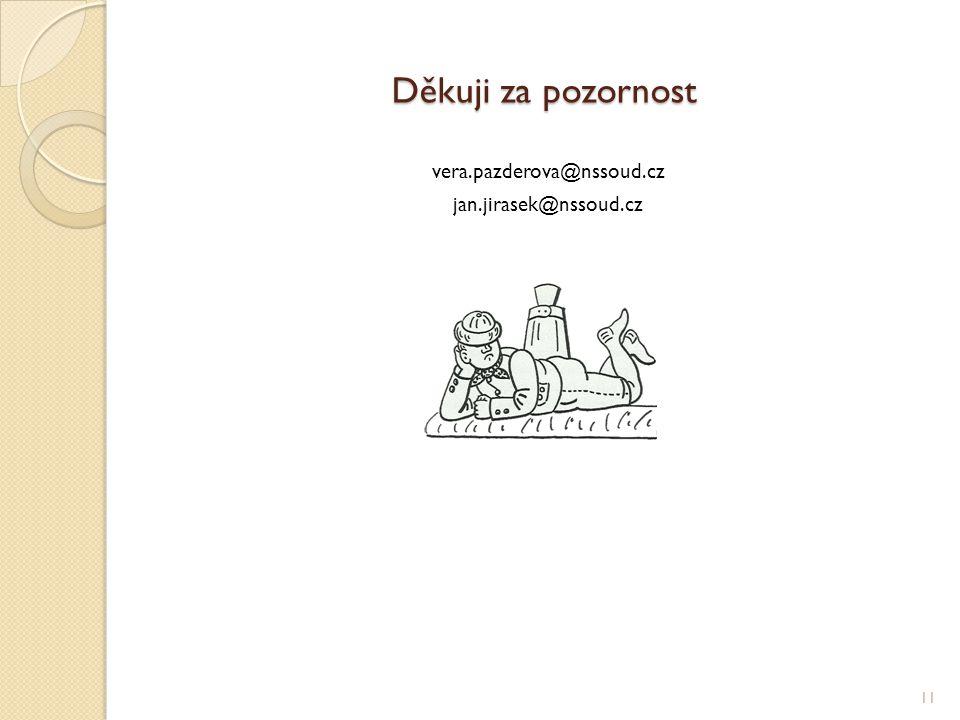 Děkuji za pozornost vera.pazderova@nssoud.cz jan.jirasek@nssoud.cz 11