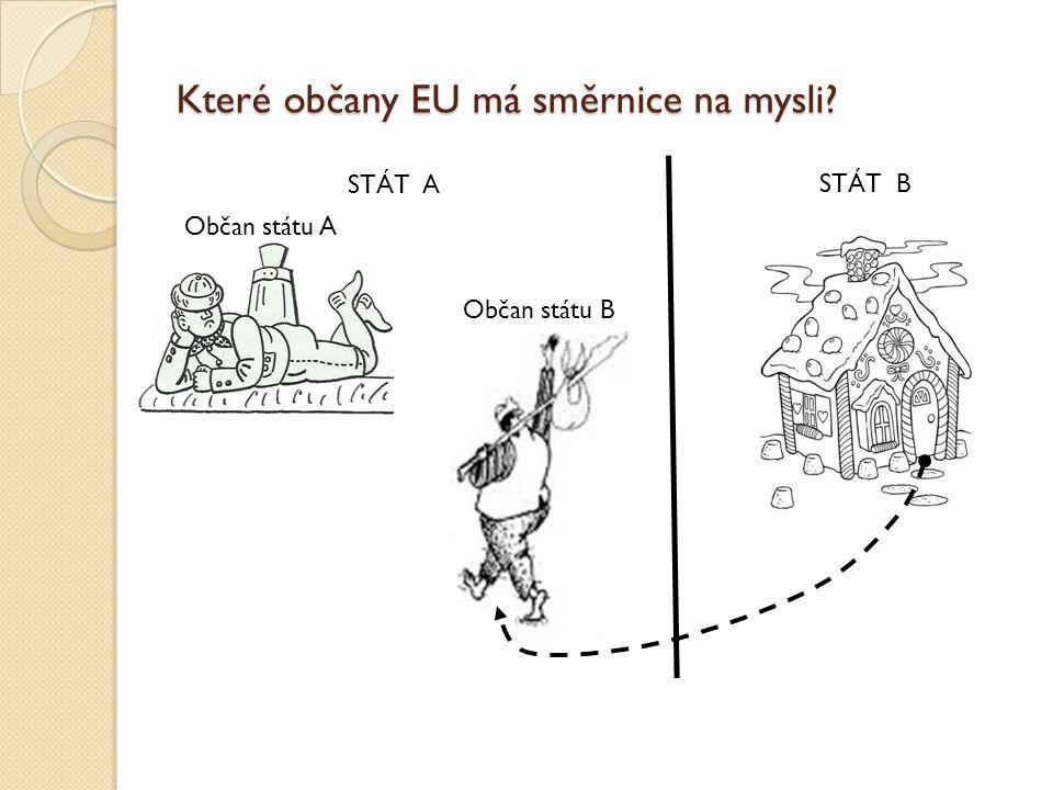 Které občany EU má směrnice na mysli? STÁT A STÁT B Občan státu A Občan státu B
