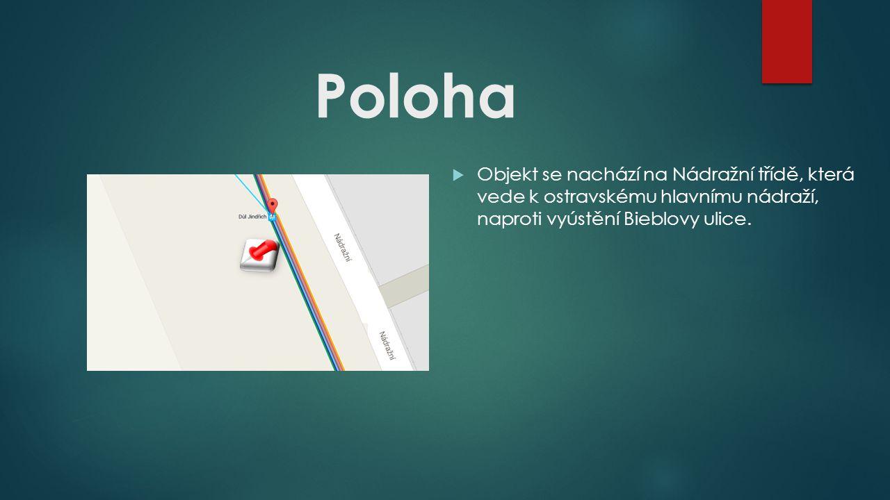 Poloha  Objekt se nachází na Nádražní třídě, která vede k ostravskému hlavnímu nádraží, naproti vyústění Bieblovy ulice.