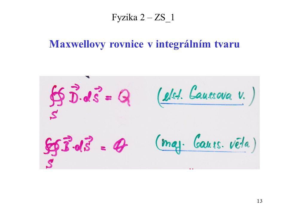 13 Fyzika 2 – ZS_1 Maxwellovy rovnice v integrálním tvaru