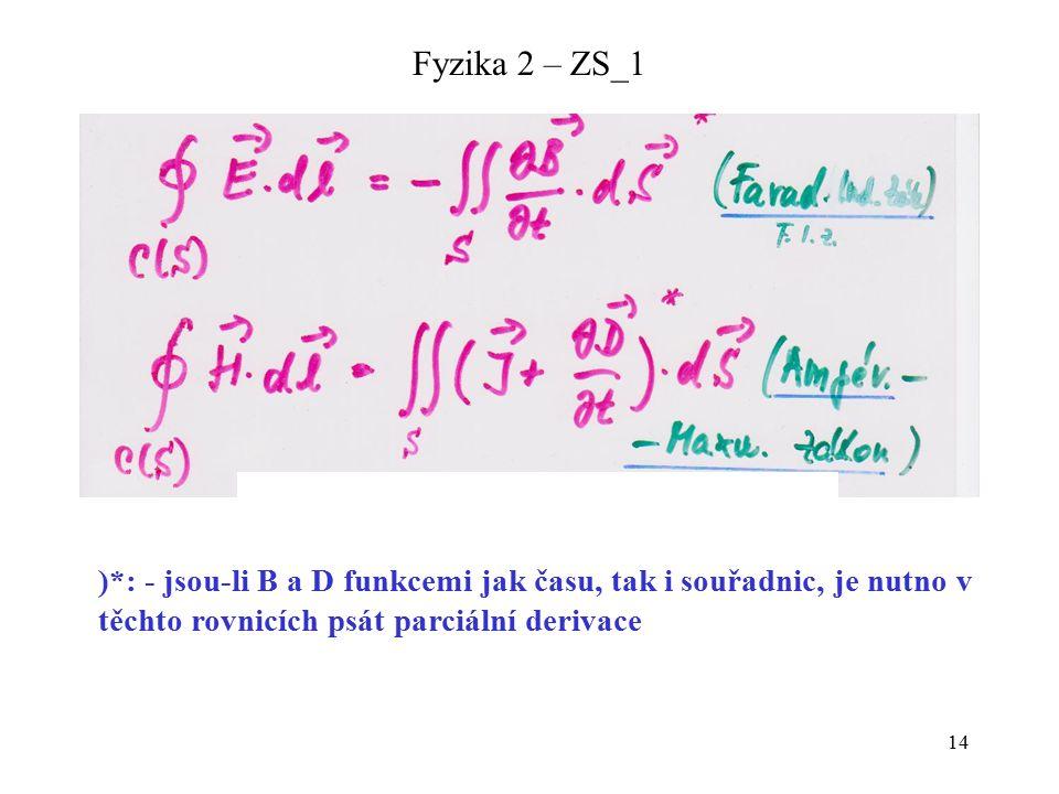 14 Fyzika 2 – ZS_1 )*: - jsou-li B a D funkcemi jak času, tak i souřadnic, je nutno v těchto rovnicích psát parciální derivace