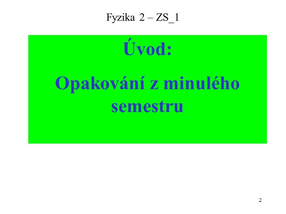 2 Fyzika 2 – ZS_1 Úvod: Opakování z minulého semestru