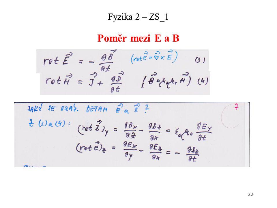 22 Fyzika 2 – ZS_1 Poměr mezi E a B