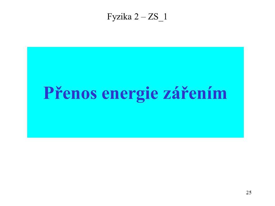 25 Fyzika 2 – ZS_1 Přenos energie zářením