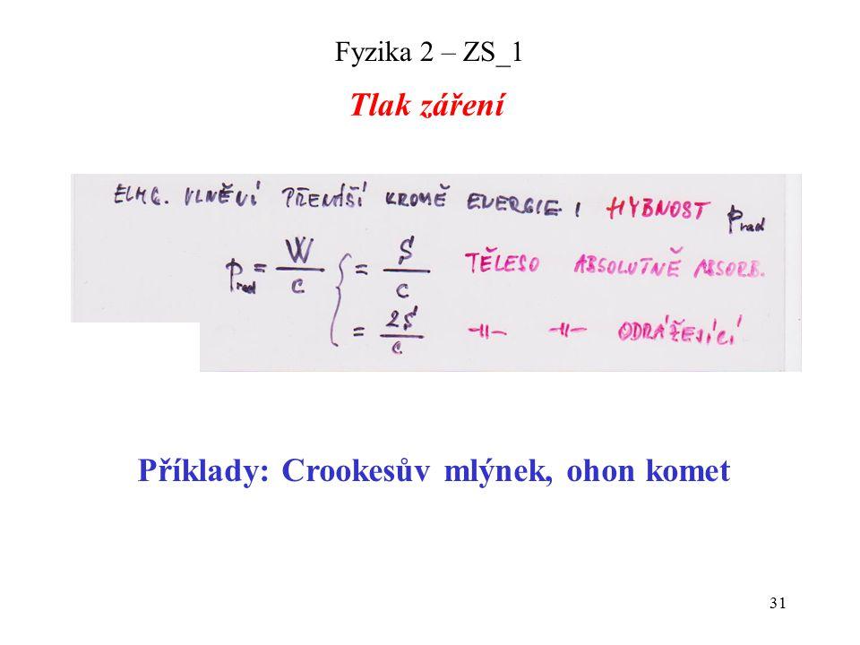 31 Fyzika 2 – ZS_1 Tlak záření Příklady: Crookesův mlýnek, ohon komet