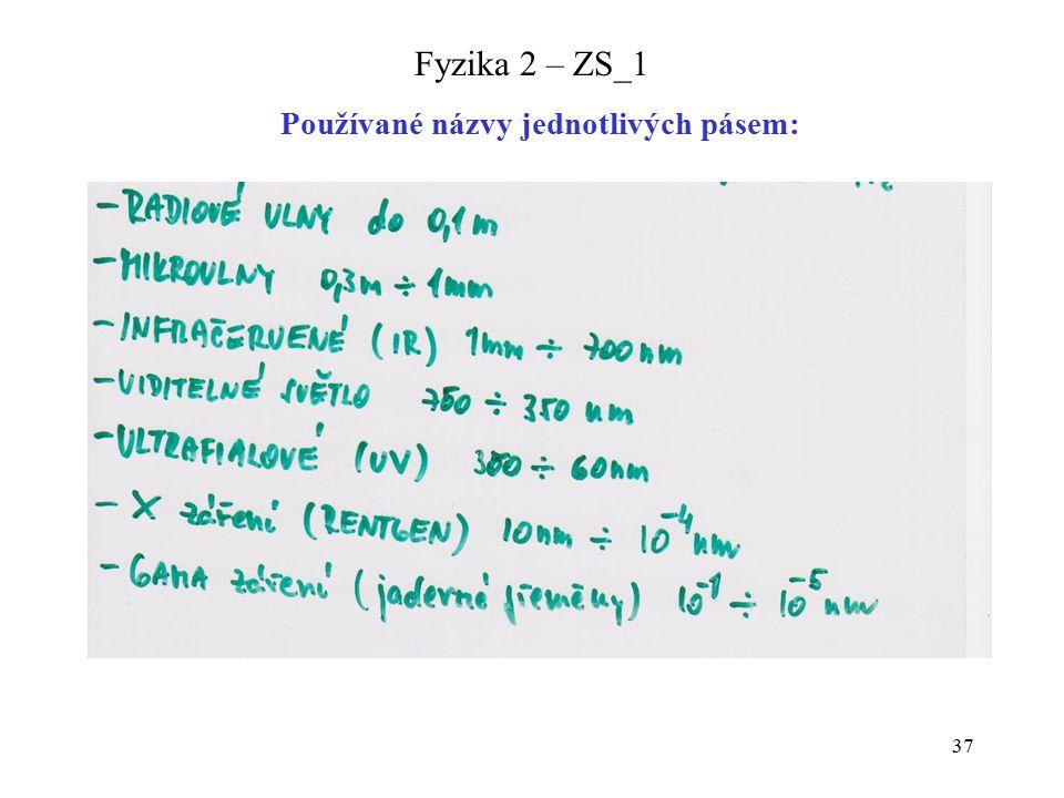 37 Fyzika 2 – ZS_1 Používané názvy jednotlivých pásem: