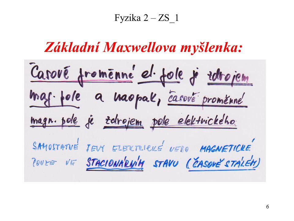 6 Základní Maxwellova myšlenka:
