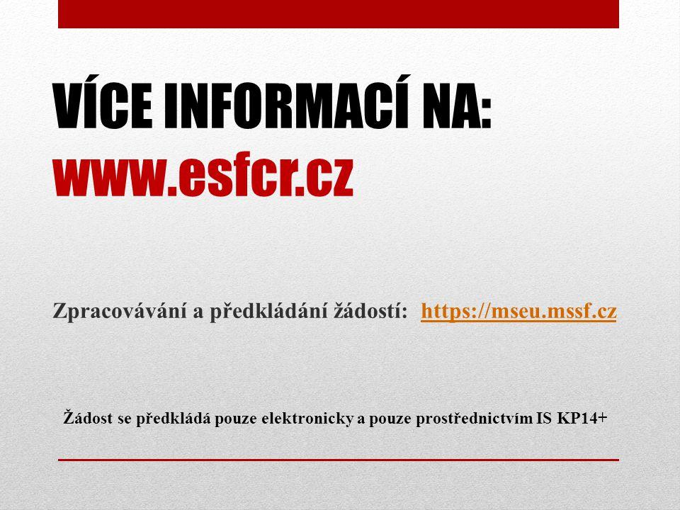 VÍCE INFORMACÍ NA: www.esfcr.cz Žádost se předkládá pouze elektronicky a pouze prostřednictvím IS KP14+ Zpracovávání a předkládání žádostí: https://mseu.mssf.czhttps://mseu.mssf.cz