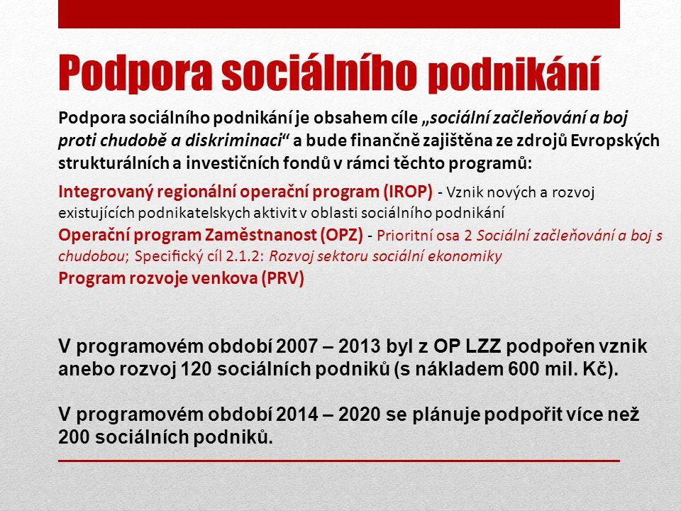"""Podpora sociálního podnikání Podpora sociálního podnikání je obsahem cíle """"sociální začleňování a boj proti chudobě a diskriminaci a bude finančně zajištěna ze zdrojů Evropských strukturálních a investičních fondů v rámci těchto programů: Integrovaný regionální operační program (IROP) - Vznik nových a rozvoj existujících podnikatelskych aktivit v oblasti sociálního podnikání Operační program Zaměstnanost (OPZ) - Prioritní osa 2 Sociální začleňování a boj s chudobou; Specifický cíl 2.1.2: Rozvoj sektoru sociální ekonomiky Program rozvoje venkova (PRV) V programovém období 2007 – 2013 byl z OP LZZ podpořen vznik anebo rozvoj 120 sociálních podniků (s nákladem 600 mil."""