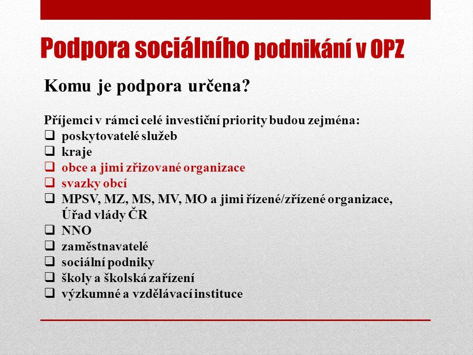 Podpora sociálního podnikání v OPZ Komu je podpora určena.