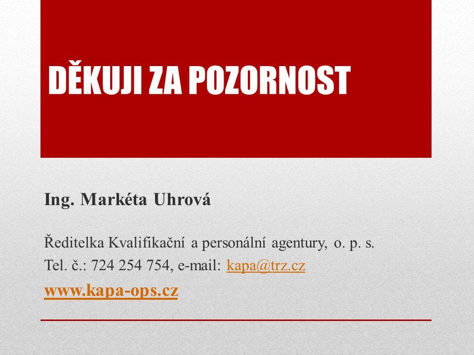 DĚKUJI ZA POZORNOST Ing.Markéta Uhrová Ředitelka Kvalifikační a personální agentury, o.