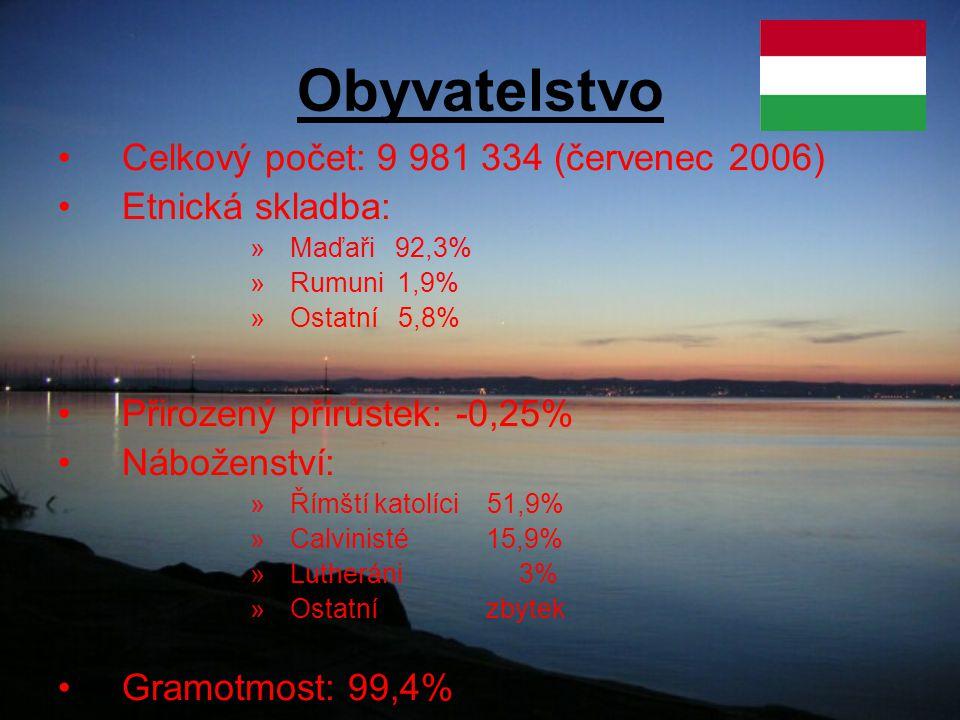 Obyvatelstvo Celkový počet: 9 981 334 (červenec 2006) Etnická skladba: »Maďaři 92,3% »Rumuni 1,9% »Ostatní 5,8% Přirozený přírůstek: -0,25% Náboženství: »Římští katolíci 51,9% »Calvinisté 15,9% »Lutheráni 3% »Ostatní zbytek Gramotmost: 99,4%