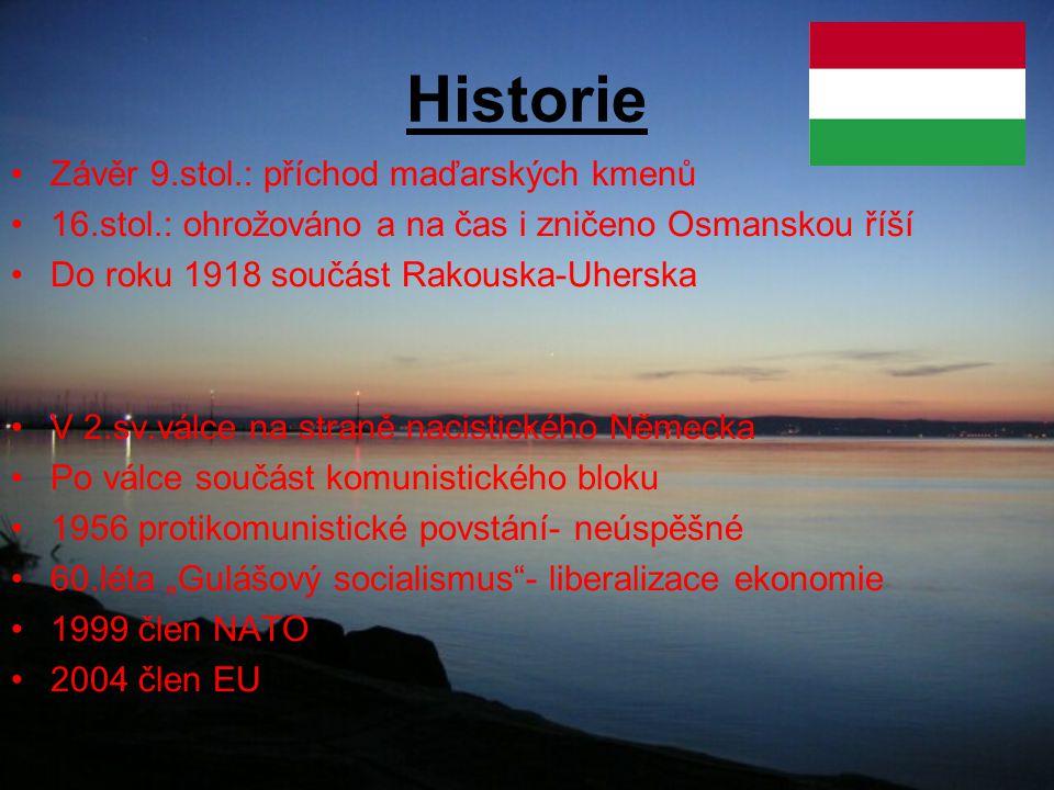 Historie Závěr 9.stol.: příchod maďarských kmenů 16.stol.: ohrožováno a na čas i zničeno Osmanskou říší Do roku 1918 součást Rakouska-Uherska V 2.sv.v