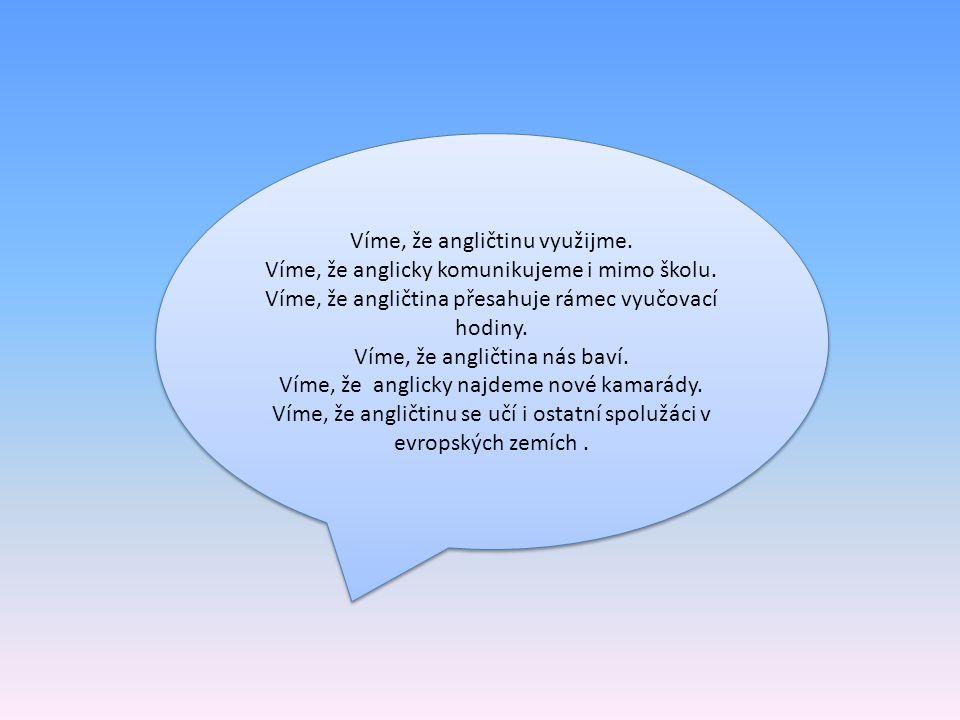 Víme, že angličtinu využijme.Víme, že anglicky komunikujeme i mimo školu.