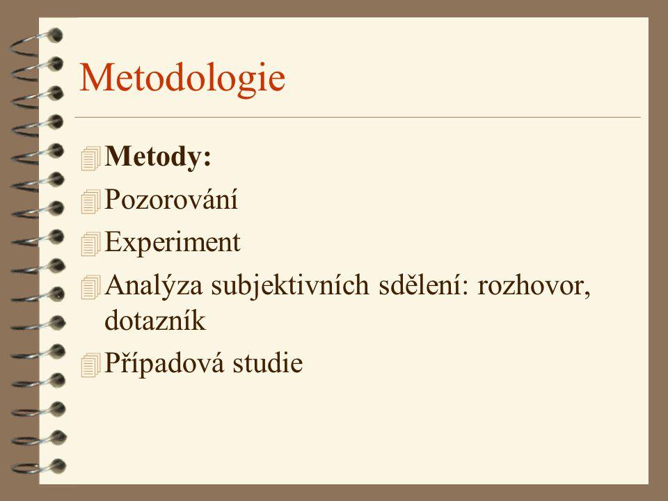 Metodologie 4 Metody: 4 Pozorování 4 Experiment 4 Analýza subjektivních sdělení: rozhovor, dotazník 4 Případová studie