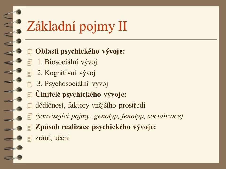 Základní pojmy II 4 Oblasti psychického vývoje: 4 1. Biosociální vývoj 4 2. Kognitivní vývoj 4 3. Psychosociální vývoj 4 Činitelé psychického vývoje: