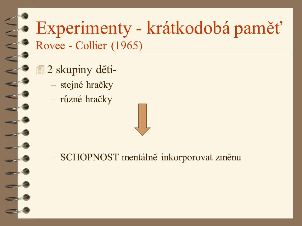 Experimenty - krátkodobá paměť Rovee - Collier (1965) 4 2 skupiny dětí- –stejné hračky –různé hračky –SCHOPNOST mentálně inkorporovat změnu