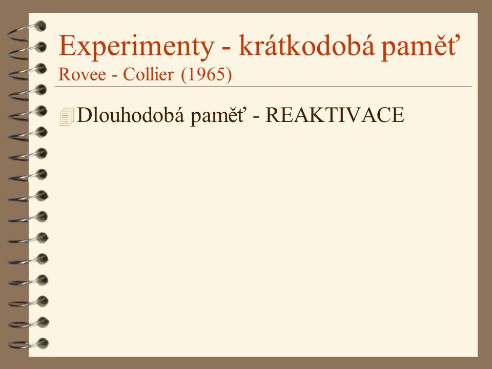 Experimenty - krátkodobá paměť Rovee - Collier (1965) 4 Dlouhodobá paměť - REAKTIVACE
