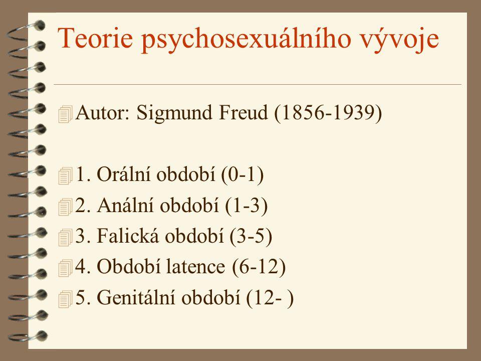 Teorie psychosexuálního vývoje 4 Autor: Sigmund Freud (1856-1939) 4 1. Orální období (0-1) 4 2. Anální období (1-3) 4 3. Falická období (3-5) 4 4. Obd