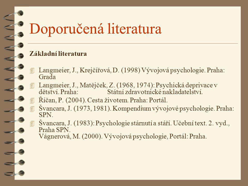 Doporučená literatura Základní literatura 4 Langmeier, J., Krejčířová, D. (1998) Vývojová psychologie. Praha: Grada 4 Langmeier, J., Matějček, Z. (196