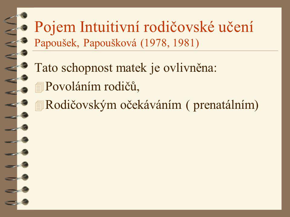 Pojem Intuitivní rodičovské učení Papoušek, Papoušková (1978, 1981) Tato schopnost matek je ovlivněna: 4 Povoláním rodičů, 4 Rodičovským očekáváním (