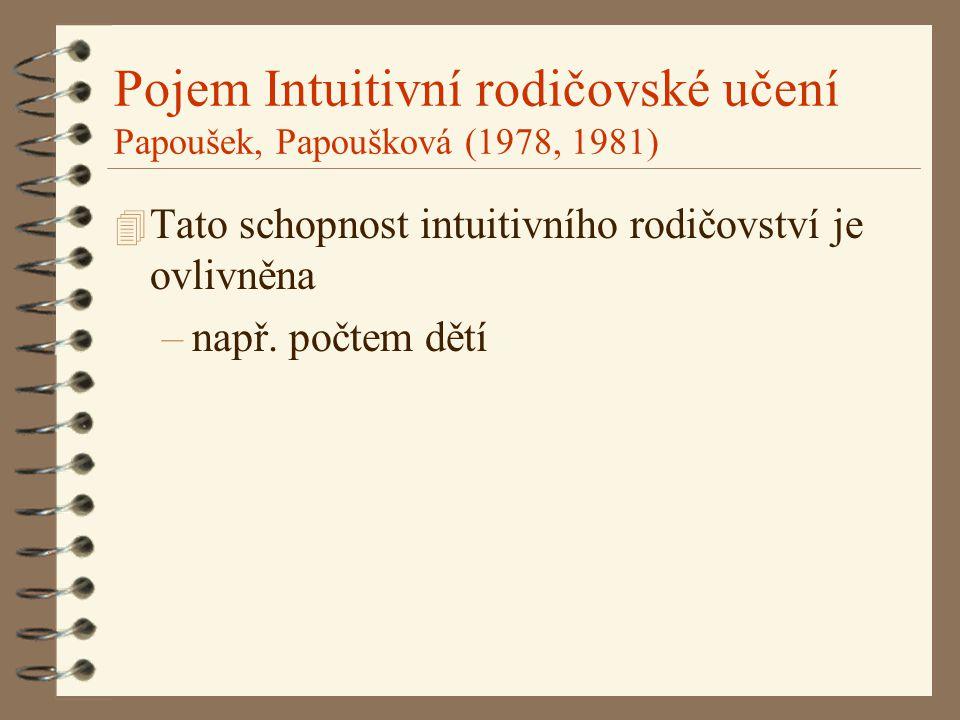 Pojem Intuitivní rodičovské učení Papoušek, Papoušková (1978, 1981) 4 Tato schopnost intuitivního rodičovství je ovlivněna –např. počtem dětí