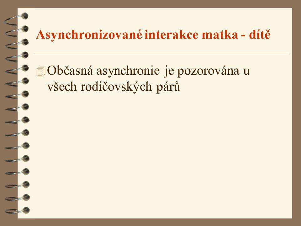 Asynchronizované interakce matka - dítě 4 Občasná asynchronie je pozorována u všech rodičovských párů
