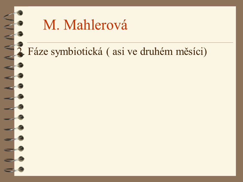 M. Mahlerová 2. Fáze symbiotická ( asi ve druhém měsíci)