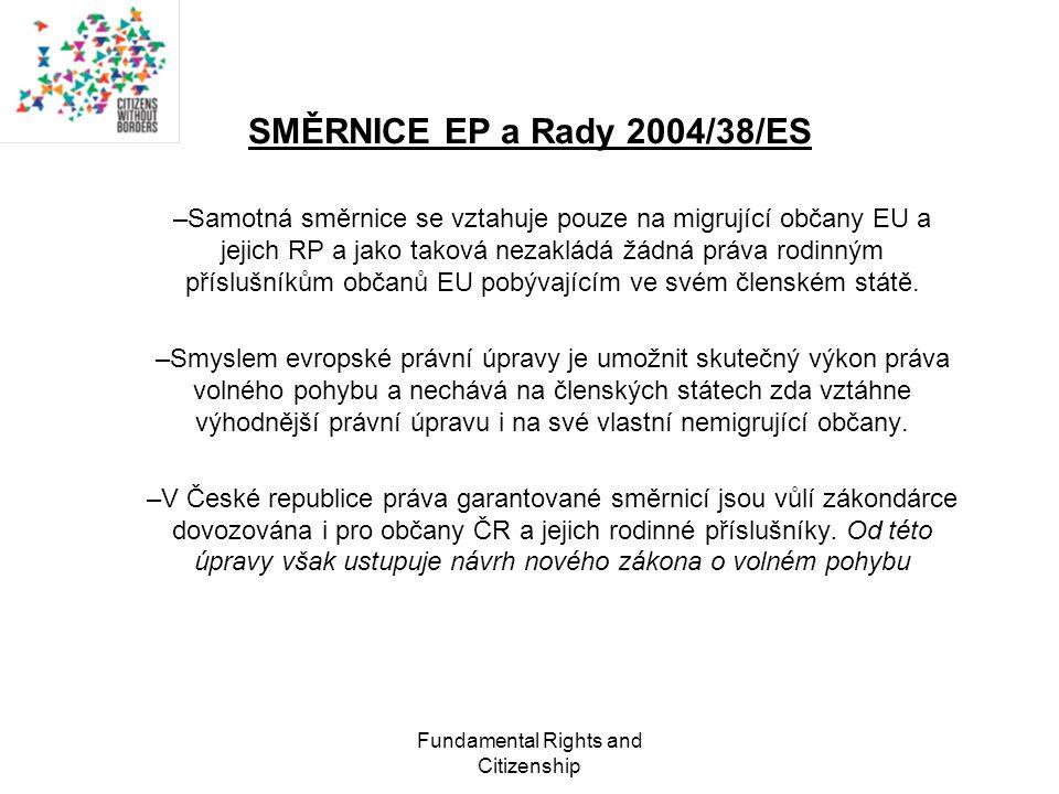 Fundamental Rights and Citizenship SMĚRNICE EP a Rady 2004/38/ES –Samotná směrnice se vztahuje pouze na migrující občany EU a jejich RP a jako taková nezakládá žádná práva rodinným příslušníkům občanů EU pobývajícím ve svém členském státě.