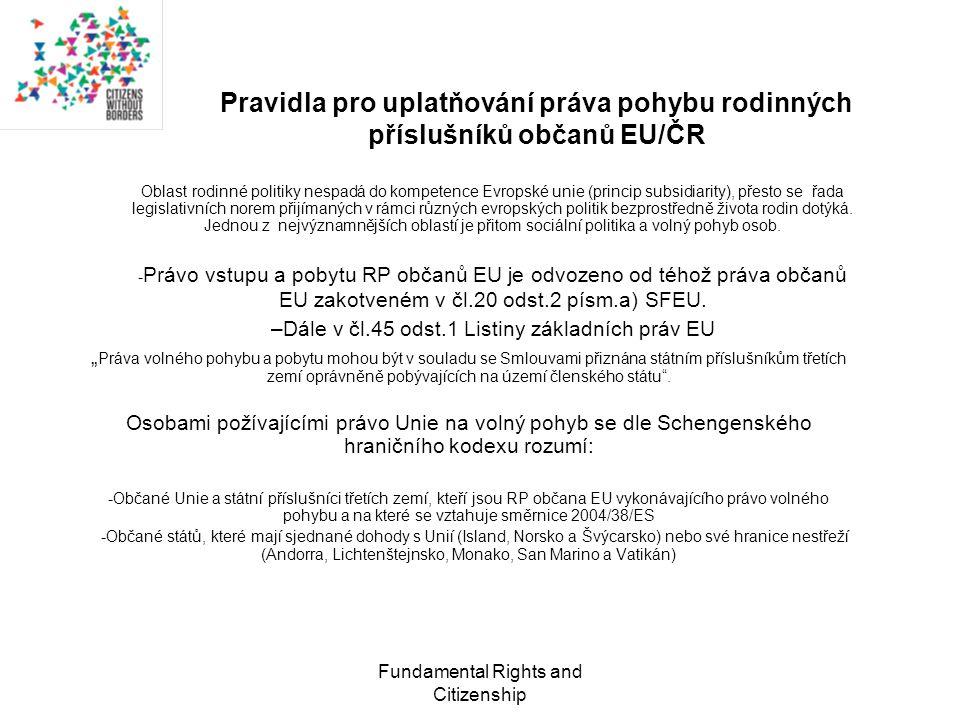 Fundamental Rights and Citizenship Meze uplatňování práv plynoucích ze Směrnice –Definice rodinného příslušníka v právních úpravách a rozhodovací praxi správních orgánů neodpovídá judikatuře SDEU –Směrnice je nesprávně aplikována, pokud jde o právo rodinných příslušníků občanů EU ze třetích zemí na vstup na území, nedostatečné odůvodnění zamítnutí vydání víz (užší vymezení důvodů dle ZoPC) –Problematické prokázání faktické závislost rodinných příslušníků a prokázání společného soužití jako překážka pro vydání pobytových karet.