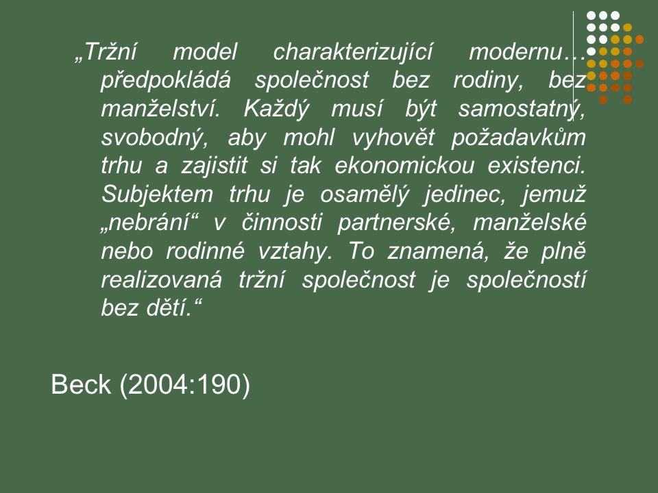 """""""Tržní model charakterizující modernu… předpokládá společnost bez rodiny, bez manželství. Každý musí být samostatný, svobodný, aby mohl vyhovět požada"""
