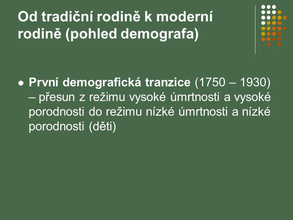 Od tradiční rodině k moderní rodině (pohled demografa) První demografická tranzice (1750 – 1930) – přesun z režimu vysoké úmrtnosti a vysoké porodnost