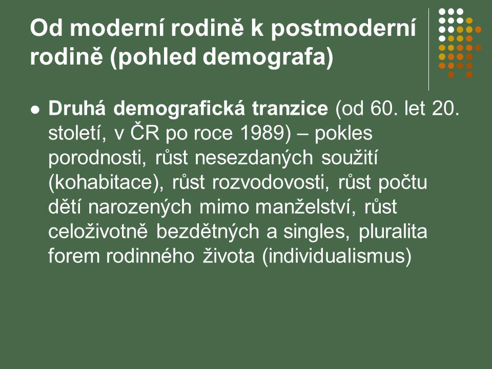 Od moderní rodině k postmoderní rodině (pohled demografa) Druhá demografická tranzice (od 60. let 20. století, v ČR po roce 1989) – pokles porodnosti,