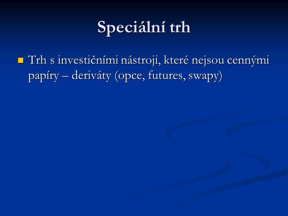 Speciální trh Trh s investičními nástroji, které nejsou cennými papíry – deriváty (opce, futures, swapy) Trh s investičními nástroji, které nejsou cen