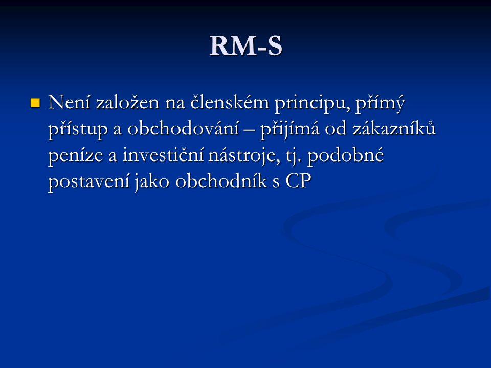 RM-S Není založen na členském principu, přímý přístup a obchodování – přijímá od zákazníků peníze a investiční nástroje, tj.