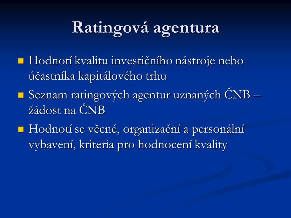Ratingová agentura Hodnotí kvalitu investičního nástroje nebo účastníka kapitálového trhu Hodnotí kvalitu investičního nástroje nebo účastníka kapitálového trhu Seznam ratingových agentur uznaných ČNB – žádost na ČNB Seznam ratingových agentur uznaných ČNB – žádost na ČNB Hodnotí se věcné, organizační a personální vybavení, kriteria pro hodnocení kvality Hodnotí se věcné, organizační a personální vybavení, kriteria pro hodnocení kvality