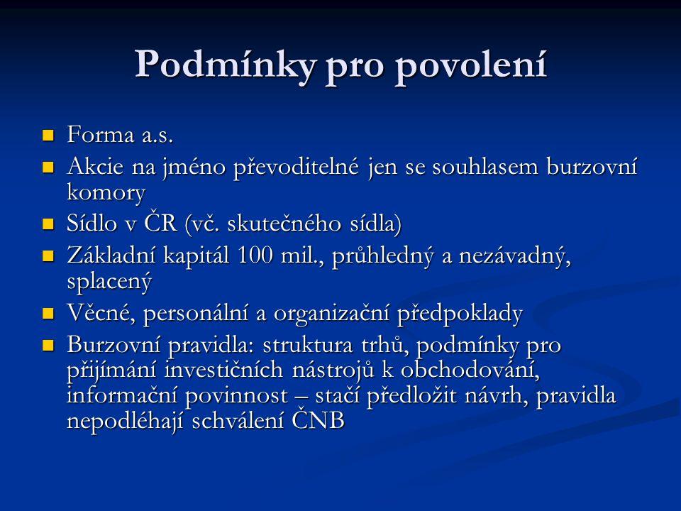 Podmínky pro povolení Forma a.s.Forma a.s.